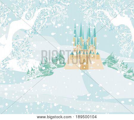 Winter landscape with castle , vector illustration