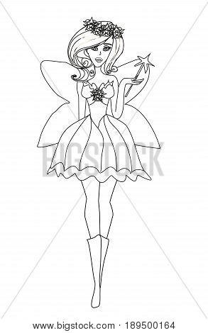 Beautiful fairy on white background , doodle illustration