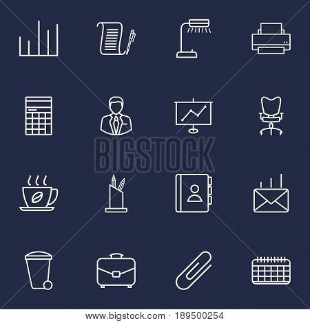 Set Of 16 Cabinet Outline Icons Set.Collection Of Show, Hot Drink, Fastener Paper And Other Elements.