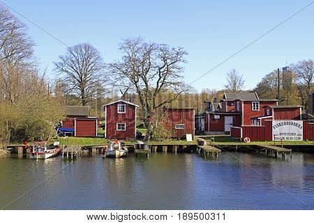 Malmo Sweden - April 22 2017: the fish market in center of Malmo Sweden