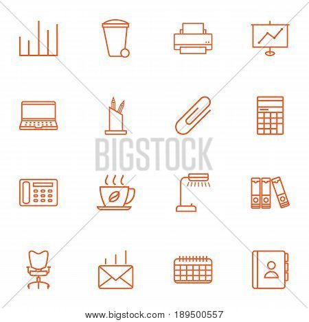 Set Of 16 Bureau Outline Icons Set.Collection Of Fastener Paper, Telephone Directory, Chart And Other Elements.