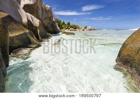 Granite Rocks And Beach, La Digue, Seychelles
