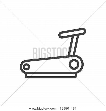 Isolted Treadmill Outline Symbol On Clean Background. Vector Running Track Element In Trendy Style.