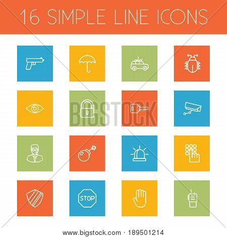 Set Of 16 Procuring Outline Icons Set.Collection Of Close , Open, Hand Elements.