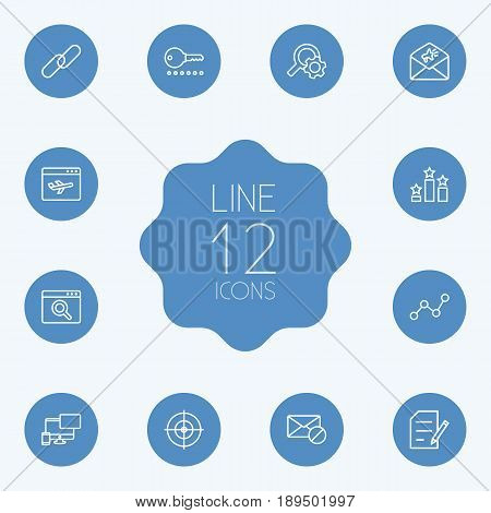 Set Of 12 Search Outline Icons Set.Collection Of Style, Arrangement, Url And Other Elements.