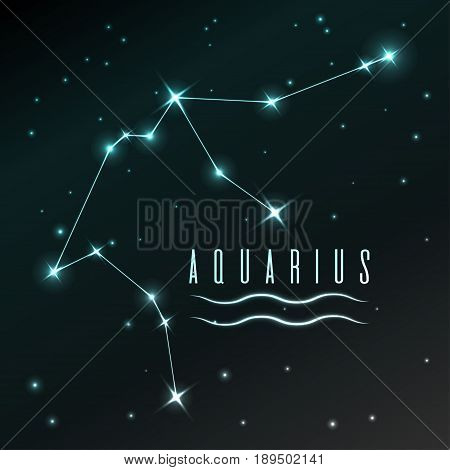 Air symbol of Aquarius zodiac sign, horoscope, vector art and illustration. Star constellation.
