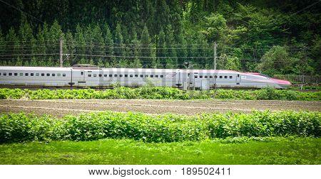 Shinkansen Bullet Train In Tohoku, Japan