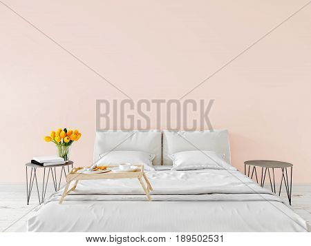 Spring morning Mock up wall bedroom interior urban contemporary design. Scandinavian style interior. 3d rendering