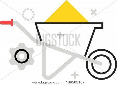 Color Box Wheel Barrow Icon