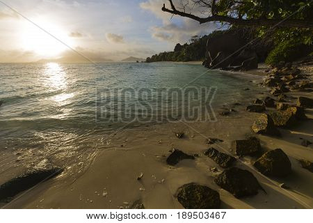 Beach Sunset, La Digue, Seychelles