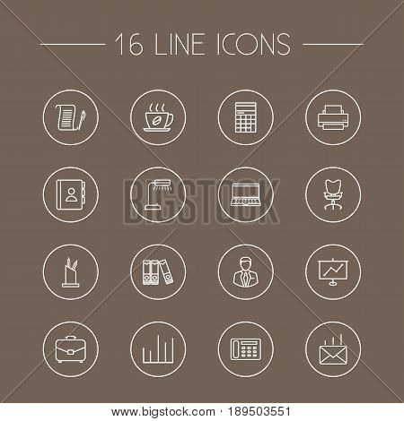 Set Of 16 Bureau Outline Icons Set.Collection Of Notebook, Post, Counter And Other Elements.