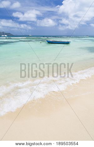 Boat In Lagoon, La Digue, Seychelles