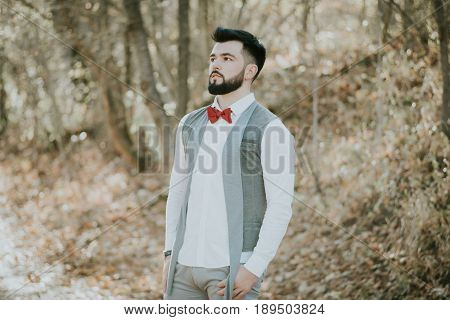 Portrait of stylish groom man in white shirt gray waistcoat and red bow-tie at the wedding in nature forest. Selective focus. Toned image