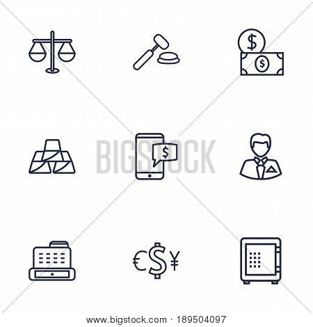 Set Of 9 Finance Outline Icons Set.Collection Of Safe, Exchange, Electron Payment And Other Elements.