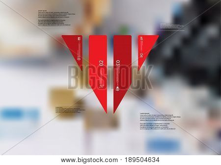 Illustration infographic template with motif of triangle vertically divided to four standalone red sections with simple sign number and sample text. Blurred photo is used as background.
