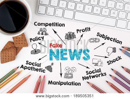Fake News Business concept. White office desk.