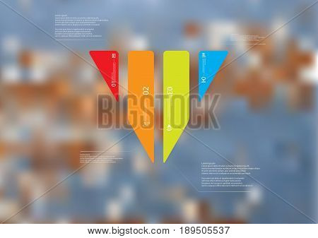 Illustration infographic template with motif of triangle vertically divided to four standalone color sections with simple sign number and sample text. Blurred photo is used as background.