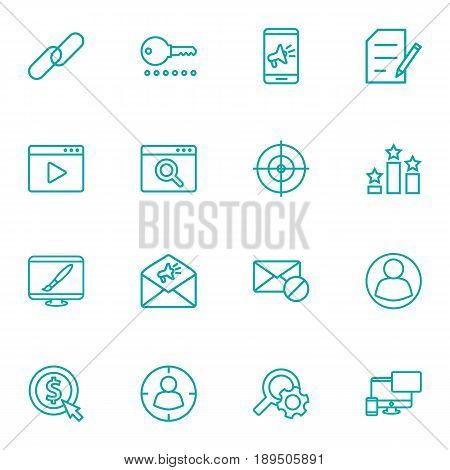 Set Of 16 Optimization Outline Icons Set.Collection Of Guest, Arrangement, Keywords And Other Elements.