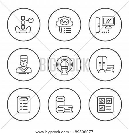 Set round line icons of magnetic resonance imaging isolated on white. Vector illustration
