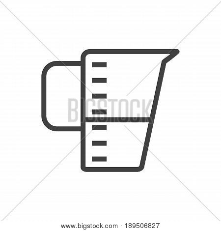 Isolted Measurement Outline Symbol On Clean Background. Vector Measuring Cup Element In Trendy Style.