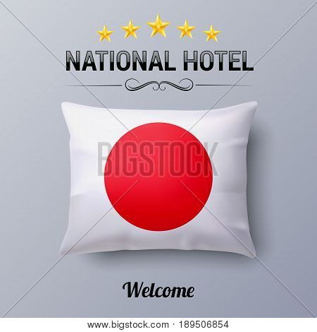 Realistic Pillow and Flag of Japan as Symbol National Hotel. Flag Pillow Cover with Japanese flag
