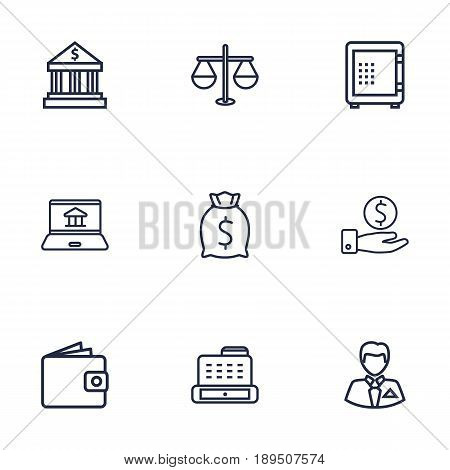 Set Of 9 Budget Outline Icons Set.Collection Of Bank, Internet Banking, Wallet And Other Elements.