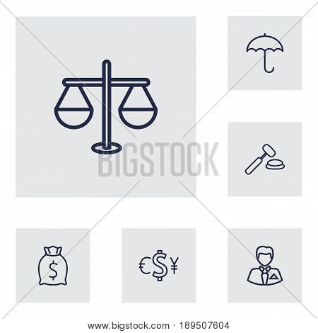 Set Of 6 Budget Outline Icons Set.Collection Of Auction, Protect, Justice And Other Elements.