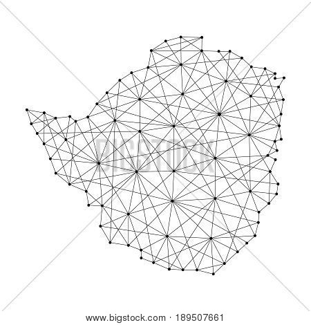 Map of Zimbabwe from polygonal black lines and dots of vector illustration