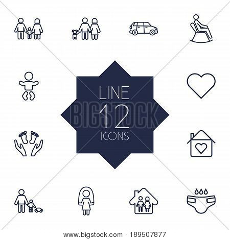 Set Of 12 Family Outline Icons Set.Collection Of Skipping Rope, Parents, Playing And Other Elements.