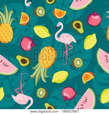 Tropical trrendy seamless pattern with pink flamingo, pineapples, tropical leafs, watermelon, lemon, avocado. Beach background. Tropical paradise