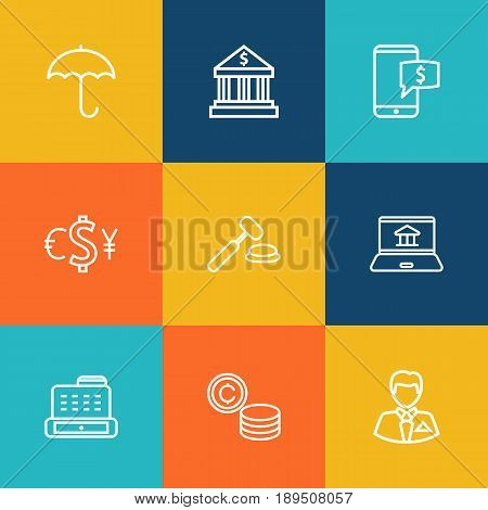 Set Of 9 Finance Outline Icons Set.Collection Of Electron Payment, Exchange, Bank And Other Elements.