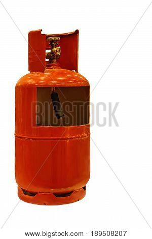 red cylinder of propane in a cut isolated on white background