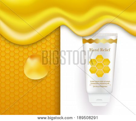 Honey hand cream conceptual vector illustration. Realistic white tube, logo, text, honeycomb pattern, dripping liquid honey flowing. Cosmetic package honey design.