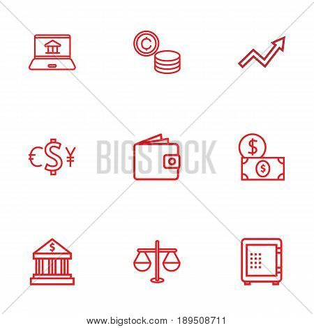 Set Of 9 Finance Outline Icons Set.Collection Of Internet Banking, Grow Up, Coins And Other Elements.