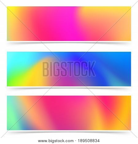 Abstract bright holi colorful cards collection. Vivid rainbow vibrant color header set. Festive flyer. Print design. Vector illustration