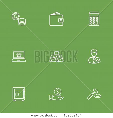 Set Of 9 Finance Outline Icons Set.Collection Of Savings, Wallet, Internet Banking And Other Elements.