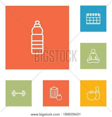 Set Of 6 Fitness Outline Icons Set.Collection Of Barbell, Bowling, Calendar And Other Elements.