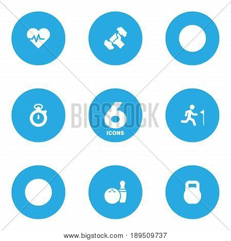 Set Of 6 Bodybuilding Icons Set.Collection Of Running, Timer, Kegling And Other Elements.