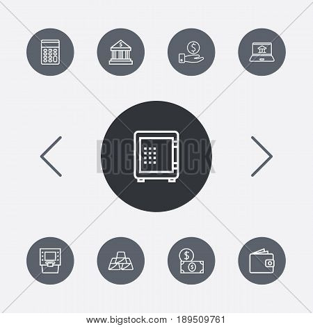 Set Of 9 Budget Outline Icons Set.Collection Of Calculator, Savings, Dollar And Other Elements.