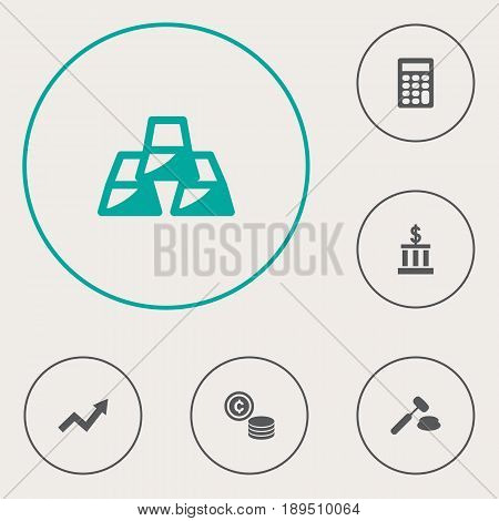 Set Of 6 Budget Icons Set.Collection Of Calculate, Grown, Building And Other Elements.