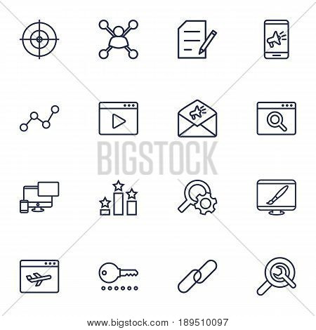 Set Of 16 Engine Outline Icons Set.Collection Of Running Title, Blogging, Url And Other Elements.
