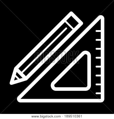 Triangle ruler and a pencil vector icon. Black and white illustration of school tools . Outline linear education icon. eps 10