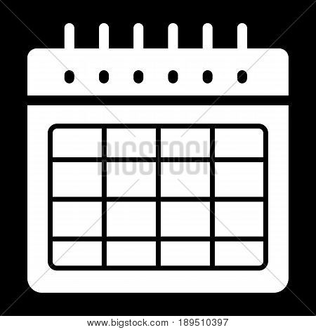 Timetable blank vector icon. Black and white illustration of calendar. Solid linear organizer icon. eps 10