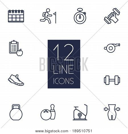 Set Of 12 Fitness Outline Icons Set.Collection Of Stopwatch, Trekking Shoes, Whistle And Other Elements.