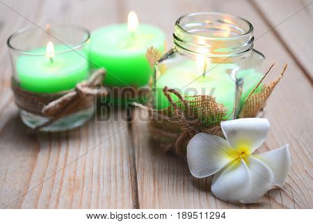 Green candle Pepper Mint Aroma spa candle