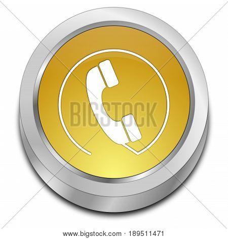 golden Phone call Button - 3D illustration