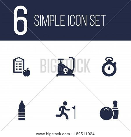 Set Of 6 Bodybuilding Icons Set.Collection Of Regime, Timer, Kegling And Other Elements.