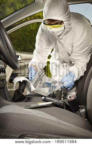 Crime scene investigation - collecting of odor traces by criminologist