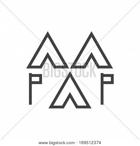 Isolted Camp Outline Symbol On Clean Background. Vector Encampment Element In Trendy Style.