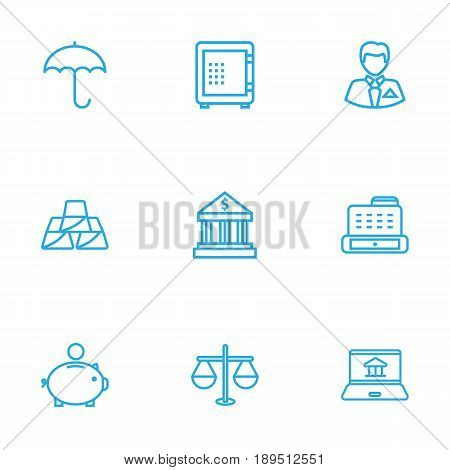 Set Of 9 Finance Outline Icons Set.Collection Of Protect, Justice, Bank And Other Elements.